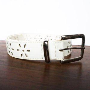 Vintage 90's White Leather Belt / Laser Cut Flower